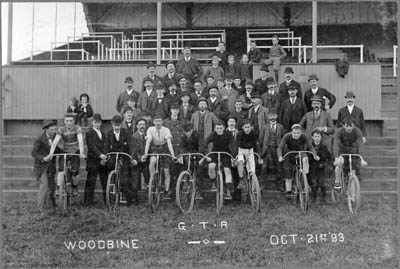 Toronto bike messenger at the track in 1893